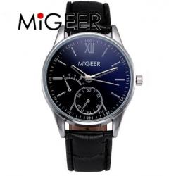 Reloj Migeer malla cuero color negro