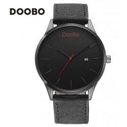 Reloj Doobo malla cuero color negro